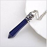 ILOVEDIY 6cm Collier Cristal de Roche Femme Quartz Ras de Cou Pendentif Hexagonal Pierre Chaine Reiki Chakra Healing Opal Bleu