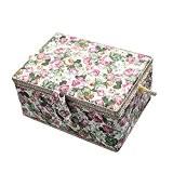 Imprimé floral vintage tissu grand panier à couture Boîte à outils organiseur Bijoux, 99pièces professionnel Kit de couture Accessoires, 30,5x ...
