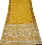 Indien Jaune Imprimé Sari Vintage Soie Mélangé Métier Habillement Vers Le Haut Des Femmes Portent Le Sarong Saree Occasionnel