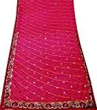 Indien Vintage Saree Art Décor Traditionnel Style Ethnique Usure Femmes Robe Chiffon Diy Tissu Magenta Sari 5Yd