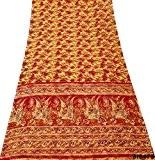 Indien Vintage Saree Feuille Imprimé Draper Maison Décor Artisanat Couture Robe Tissu Diy Soie Mélange Orange Sari 5Yd