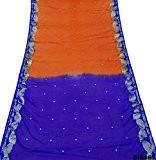 Indienne Sari Orange, Traditionnel Tissu Tissé Ethniques Femmes Robe Cru Sarong Saree Usure Fête De Mariage