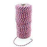ipalmay 100m coton Bakers Twine Ficelle pour cadeau ou cadeau fête décoration Bobine, 3plis, multicolore Taille unique Red/Navy/White