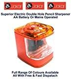 Jakar Taille-crayon électrique Orange deux trous à pile Couleur bureau ou à Main Fonctionne à piles AA (non incluses)