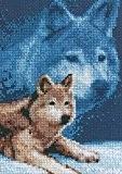Janlynn kit point de croix compté Motif loup en, bleu marine