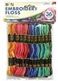 Janlynn Lot de 36 écheveaux de fil de coton Panaché-couleurs-Multicolore