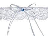 Jarretière de mariée avec ruban et d'une pierre bleue