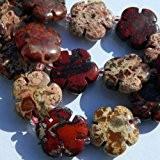 Jaspe rouge Pierre marbrée 19 mm fleur Perles-Lot de 10
