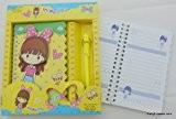 jaune (Mlle You) Spiral Fille mignonne lié couverture pop out portable Set papeterie (cahier + stylo)