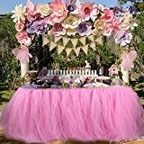 Jupe de table Tulle Jupe de table pour fille Princesse Party Baby Shower Slumber Party Décoration de fête d'anniversaire de ...