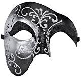 Kapmore Mens Mascarade Masque Halloween Costumes Masque Vénitien de Fête Bricolage Fait à la Main (Black/Silver)