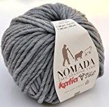 Katia nomada FB. 204-Gris moyen, 100% laine mérinos, coton naturel non traité, coton pour aiguilles 8-9