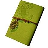 KEERADS Rétro feuille en cuir PU Couverture Loose Leaf Bandage Blank Notebook Journal Diary cadeau(vert clair)
