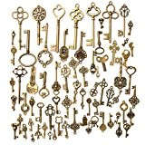 KING DO WAY Kit De 70 Pcs Pendentif Breloque Clé Clef Bronze Antique Rétro Vintage DIY Bricolage Collier Bijoux Accessories ...