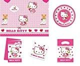 Kit anniversaire HELLO KITTY 12 à 16 personnes - décoration fête enfant fille - nappe - assiettes - serviettes - ...