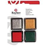 Kit de 4 Minis Tampons encreurs Couleurs Noël, 3x3cm, Rouge, Vert, Argent et Doré brillant