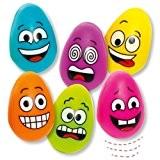 Kit de balles rebondissantes œuf à visage rigolo pour enfants - Idéal pour les pochettes-surprises spécial Pâques/printemps ou les cadeaux ...