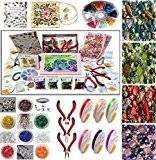 Kit de fabrication de bijoux - contient un vaste assortiment de perles de acrylique, cordon élastique, perles, fil, Pinces, Tubes ...