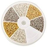 Kit de tiges pitons pour création fimo (1 boite de 700 pièces de couleur argenté, gris et doré) Dimenssion: (L) ...