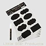 Kit étiquettes Tableau Noir autoadhésives ~ 96étiquettes Craie Et Marqueur craie liquide Blanc 3mm par Little Star ~ grande qualité ...