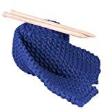 Kit Tricot Débutant pour Tricoter Echarpe Grosse Laine Bleu Denim