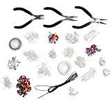 Kit ultime de démarrage avec 1000 Pièces pour la création de bijoux, perles, pinces, cordons, accessoires en plaqué argent par ...