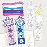 Kits de marque-pages flocon de neige avec point de croix que les enfants pourront confectionner et colorier pour Noël - ...