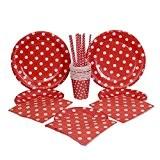 kraftz® 50pc set-22,9cm Papier Assiettes, assiettes 19,1cm Papier, papier, pailles, serviettes en papier, papier, Cups-Vaisselle jetable avec pois pour fête ...