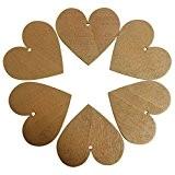 KurtzyTM 50 Étiquettes Plaques Décoratives en Forme de Cœurs en Bois de 85mm Couleur Marron Café