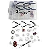KurtzyTM Grand Kit de Fabrication de Bijoux 1000 Pcs pour Débutant- Apprêts Plaqués Argent avec Étui