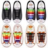 Lacets en Silicone Elastique, SENHAI 2 Paires de Lacets de Chaussures pour Adulte et 2 Paires pour Enfant, Sans Laçage ...