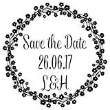 Laser personnalisée Tampon en caoutchouc-Save the Date?: Daisy Couronne de fleurs