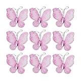 LEORX Voilage en maille métallique papillon avec Gem 50à paillettes-Rose