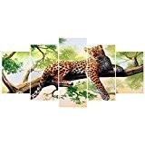 LianLe®5pcs/set Tableau peinture à l'huile panthère d'Amérique Peint à Main Mur Déco Sans Chassis Sans Cadre