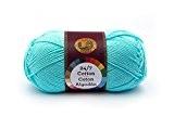 Lion Brand Yarn Company Fil de coton, 100% coton, aqua