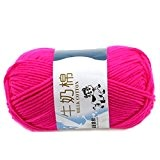 Lisse Knitting Doux Lait Coton Naturel Laine Yarn Baby Ball Wool Craft-Rose Rouge