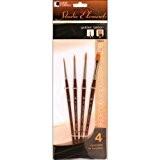 loew-cornell Studio éléments Brosse Pinceaux en fibre Taklon dorée Set-4/Pkg, d'autres, multicolore