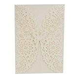 Lot 20pcs Cartes Faire-part de Mariage en Papier Evidé Motif Floral Elégant- 190x130mm - Blanc Papillon Fleur