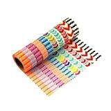 Lot de 10 Washi Tape Masking Tape Ruban adhésif décoratif coloré Scrapbooking -D1