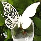 Lot de 100cartons marque-place/marque-verre en papier en forme de papillon pour fêtes, mariages