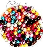 Lot de 100 Perles ronde nacré acrylique multicolore 6 mm