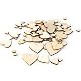 Lot de 100pcs 10-40mm Embellissement Forme de Coeur en Bois pour Artisanat Décoration de Mariage