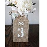 Lot de 10pcs Marque Place Numéro de Table Jute de Toile Rustique Décor de Mariage Vintage