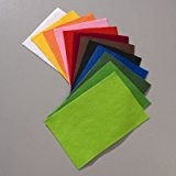 Lot de 12 coupons de feutrine couleurs assorties, épais. 1-2 mm, 20 x 30 cm