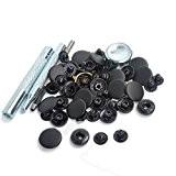Lot de 15jeux Noir mat 15mm boutons-pression Boutons Pression En Métal Kit à coudre Boutons w/Réglage outil pour les vêtements ...