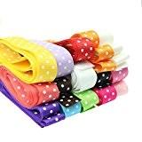Lot de 15 Ruban à Pois Gros-grain Ruban Textiles Biais Sangle Polyester 25mm Largeur Matériel Loisirs Créatif Mariage