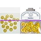 Lot de 16 boutons smiles jaunes, diam. 15 mm