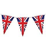 Lot de 2 triangles drapeau Union Jack Guirlande à fanions - 10 m