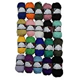 Lot de 20 x 50g de laine acrylique double tricot - couleurs mélangées assorties par Curtzy TM.