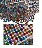 Lot de 400 8 mm autocollantes Motif cercles pierres scintillantes multicolores mélange décoration strass rectangulaire acrylique Pierres Opale Effet Effet arc-en-ciel Laser ...